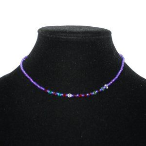 """Blue and purple choker necklace 15"""""""